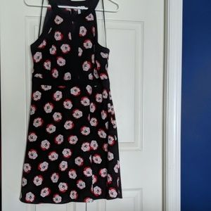 Navy dress with pink/red flowers